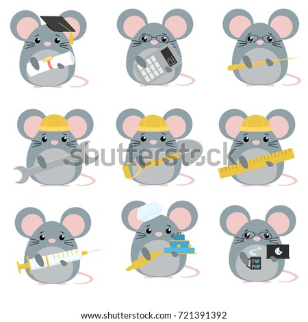 set of mice various professions: Scientist, accountant, teacher, engineer, worker, builder, doctor, baker, programmer. Cute cartoon illustration