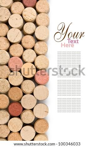 set  of wine corks isolated on white