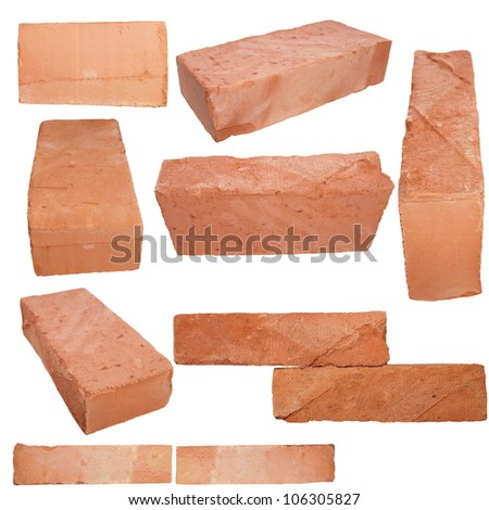 Set old red brick isolated on white background