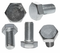 Set screw heads, bolt isolated on white background