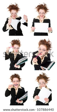 set    stressed crazy Businesswoman.isolated on white