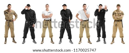 Set with security guard on white background