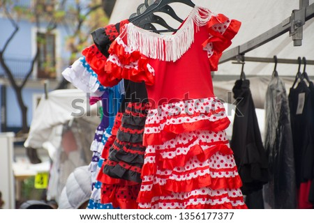 Sevillian costume, typical costume of Spanish folklore used in the festivities of Seville #1356177377