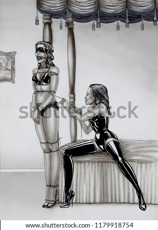 Sexy lesbian dominant Mistress in latex - Erotic fetish Painting