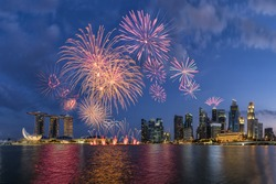 50SG festival ,Singpore National Day ,Beautiful fireworks in Marina Bay