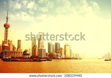 2012 Shanghai skyline, beautiful sunrise and sun.