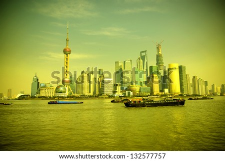 2013 Shanghai skyline, beautiful sunrise and sun.