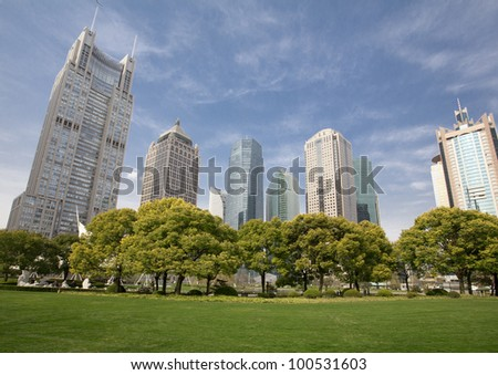 shanghai skyline of the lujiazui financial center at daytime