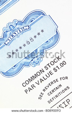 68 shares - close up of a vintage stock market object. Obsolete corporate shares certificate.