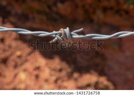 Sharp-edged steel barbed wire close-up shooting