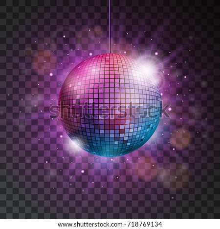 shiny disco ball illustration on a transparent background.