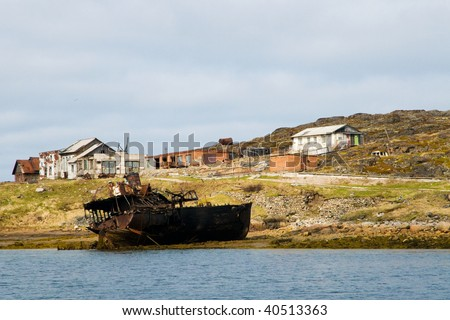 ship wreck in the lost village of russian north