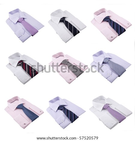 shirts with neckties isolated on white