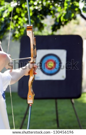 shooting to the archery target