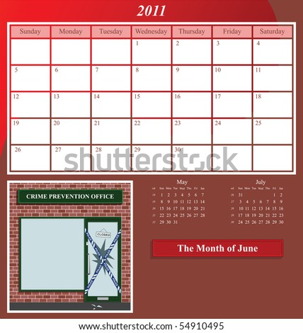 2011 Shop series calendar for the month of June