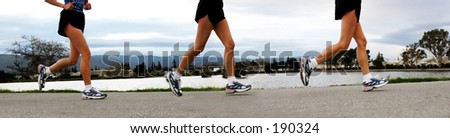 3 shots of woman's feet jogging along a river in the morning