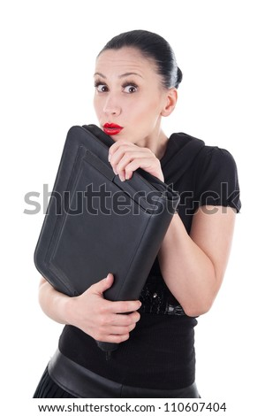 Shy woman with leather briefcase