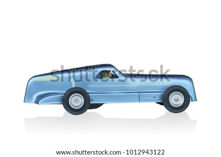 side view di cut Vintage toy car models made of zinc on white background,copy space