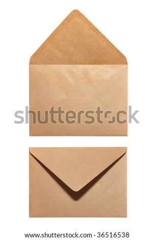 2 sides of envelope isolated on white background - stock photo