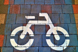 Sidewalk block with bicycle drawings