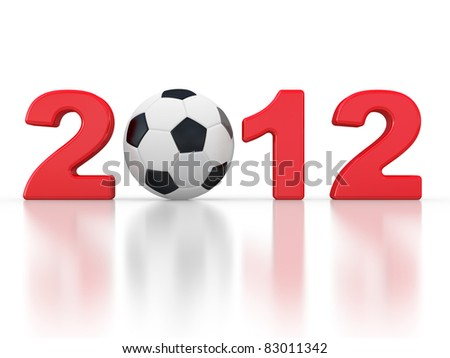 2012 sign and soccer-ball on a white background