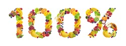 100% sign made from fruits and berries isolated on white background, 100% natural concept, one hundred percent, fresh and healthy food