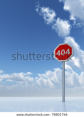 404 sign under cloudy blue sky - 3d illustration
