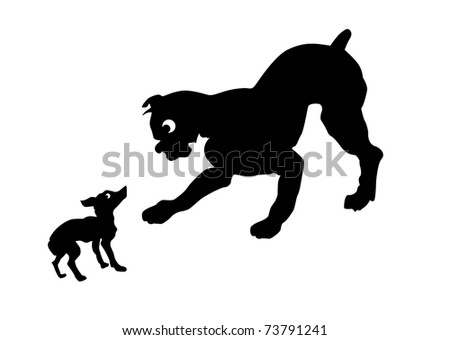 silhouette two dogs on white background - stock photo