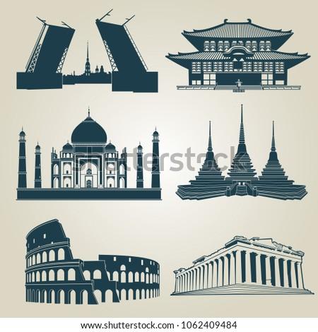 silhouettes of world tourist...