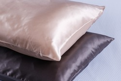 silk pillow for sleeping on a white background