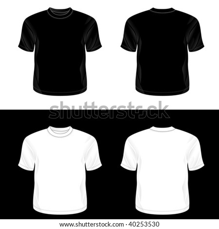 ... white realistic blank round neck t-shirt templates (front and back