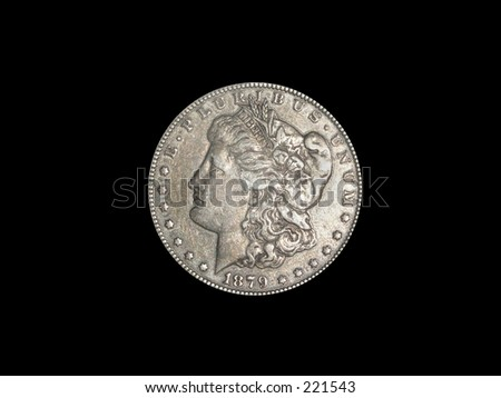 1879 Silver Dollar on Black background