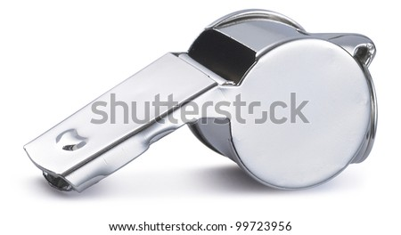 silver sports whistle with pea isolated on a white background