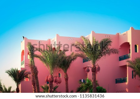 Simplicity in detail. Pink house. Tree. Palm tree. Blue sky and pretty view. Egypt. Summer. Hurghada. Red Sea.