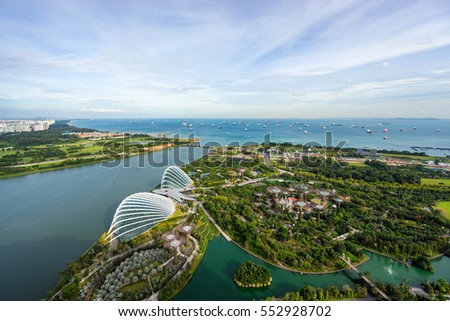 Singapore - December 12, 2016 : Aerial view of the FlowerDome and cloud forest in glass house at Gardens by the Bay in Singapore #552928702