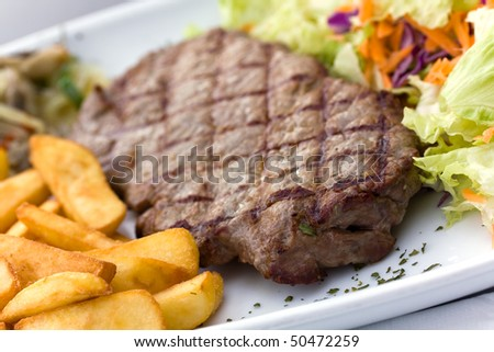 Sirloin steak with chips ,mushrooms,salad