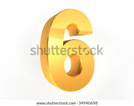 6 - Six Gold Number on white background - 3d image