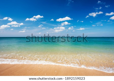 Sky and white clouds on the beach in Thailand.blue sky and cloud . Pastel style sky and clouds.Freshness of the new day. Bright blue background. Relaxing feeling like being in the sky.