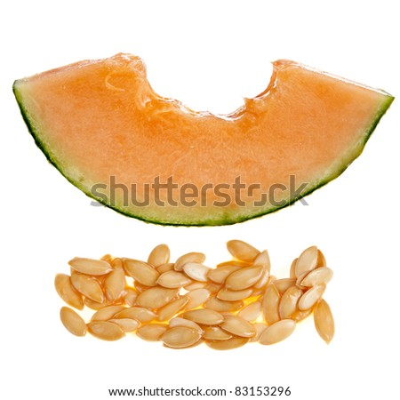 slice of cantaloupe melon  on white background