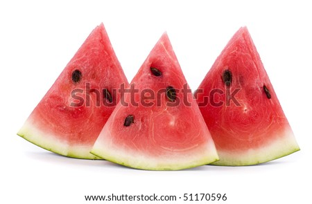 slice of watermelon,  close up isolated on white background
