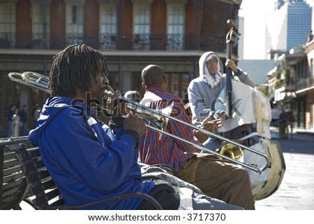 12-27-06 Slide Trombone player in Jackson Square in New Orleans