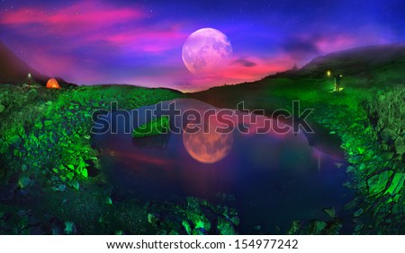 slopes Pop Ivan Maramorosh is a crystal clear lake. At dawn, we covered slopes around the green lantern light, achieving the unreal fairytale effect. Rising Moon turns Carpathian landscape in fantasy