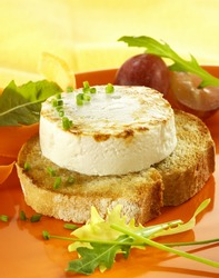 1 small ewe cheese on a slice of French bread, lightly toasted, in an orange plate with salad