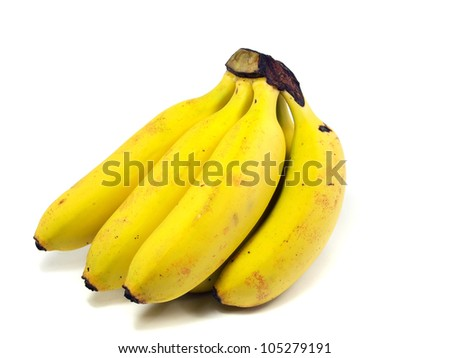 small organic bananas on a white background