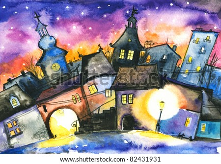 Small town at night.Picture I have created with watercolors.