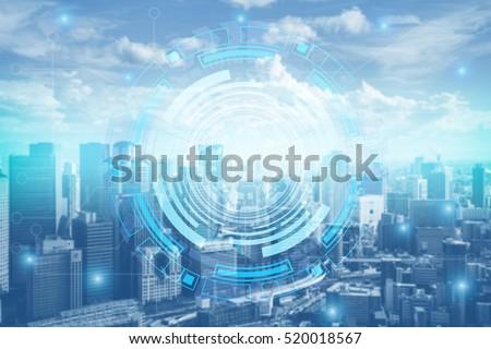 2017 Smart city. Internet technology background. mixed media