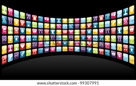 Smartphone cloud app icon set background.