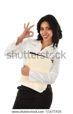 Smiling Young Hispanic Businesswoman with OK sign on Isolated White