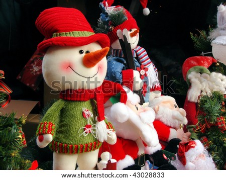 snowball and soft toys at christmas fair