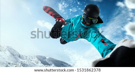 Snowboarder in action. Extreme winter sports. #1531862378